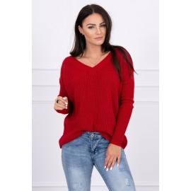 Pleten pulover z V izrezom 2019-11, rdeč