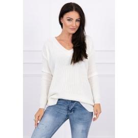 Pleten pulover z V izrezom 2019-11, ekru